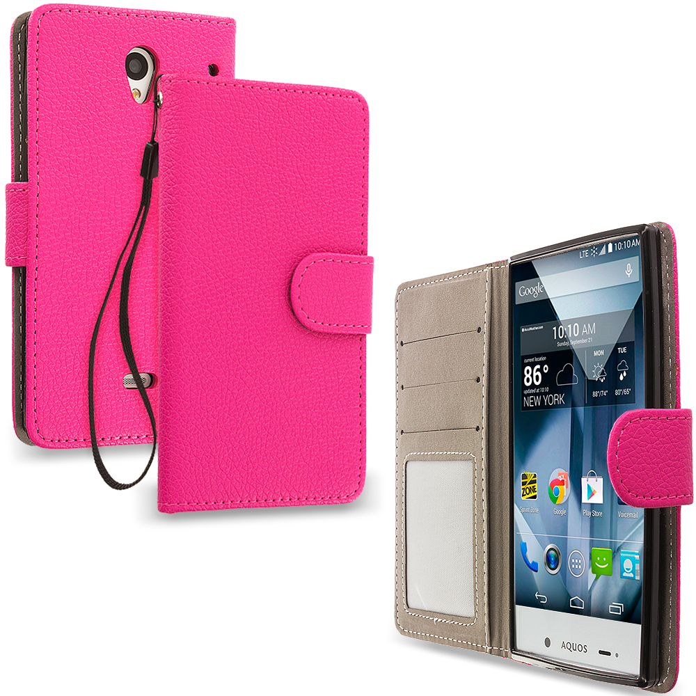 Sharp Aquos Crystal Hot Pink Leather Wallet Pouch Case Cover with Slots
