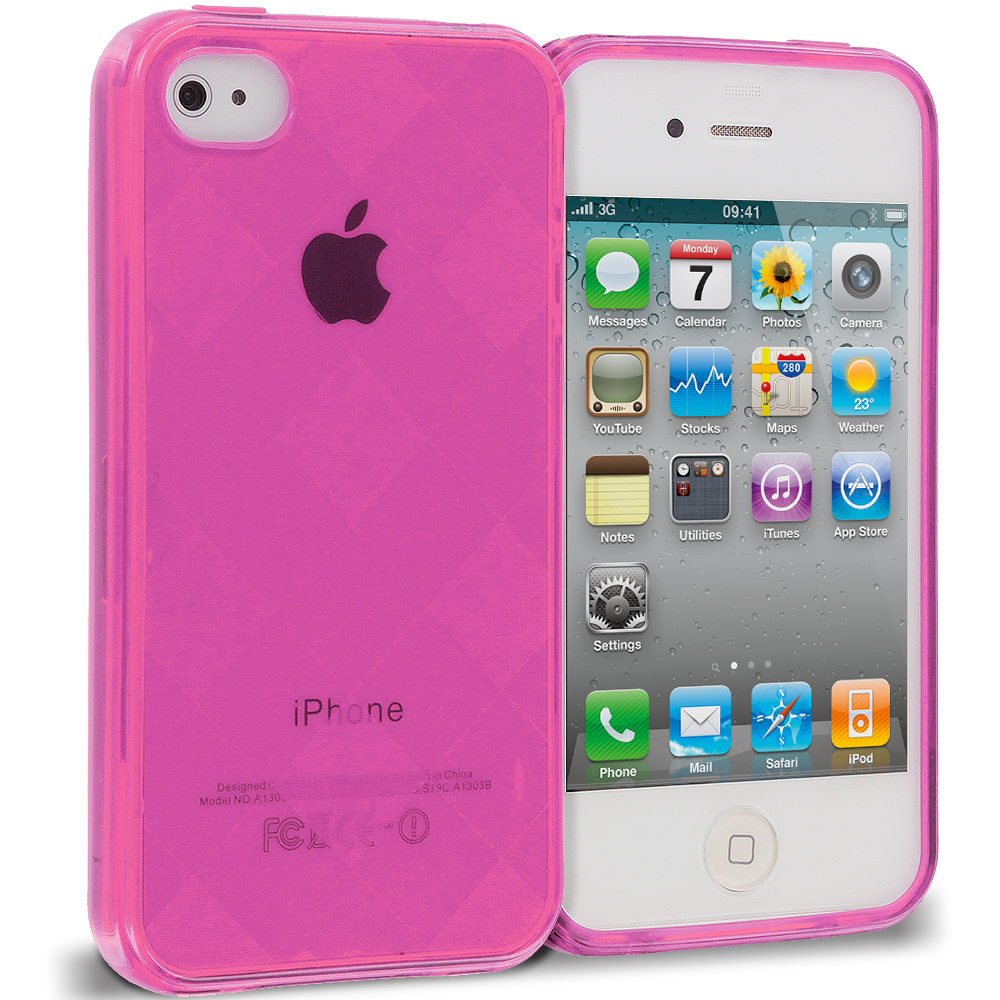 Apple iPhone 4 / 4S 2 in 1 Combo Bundle Pack - Hot Pink Clear Diamond TPU Rubber Skin Case Cover : Color Hot Pink Diamond