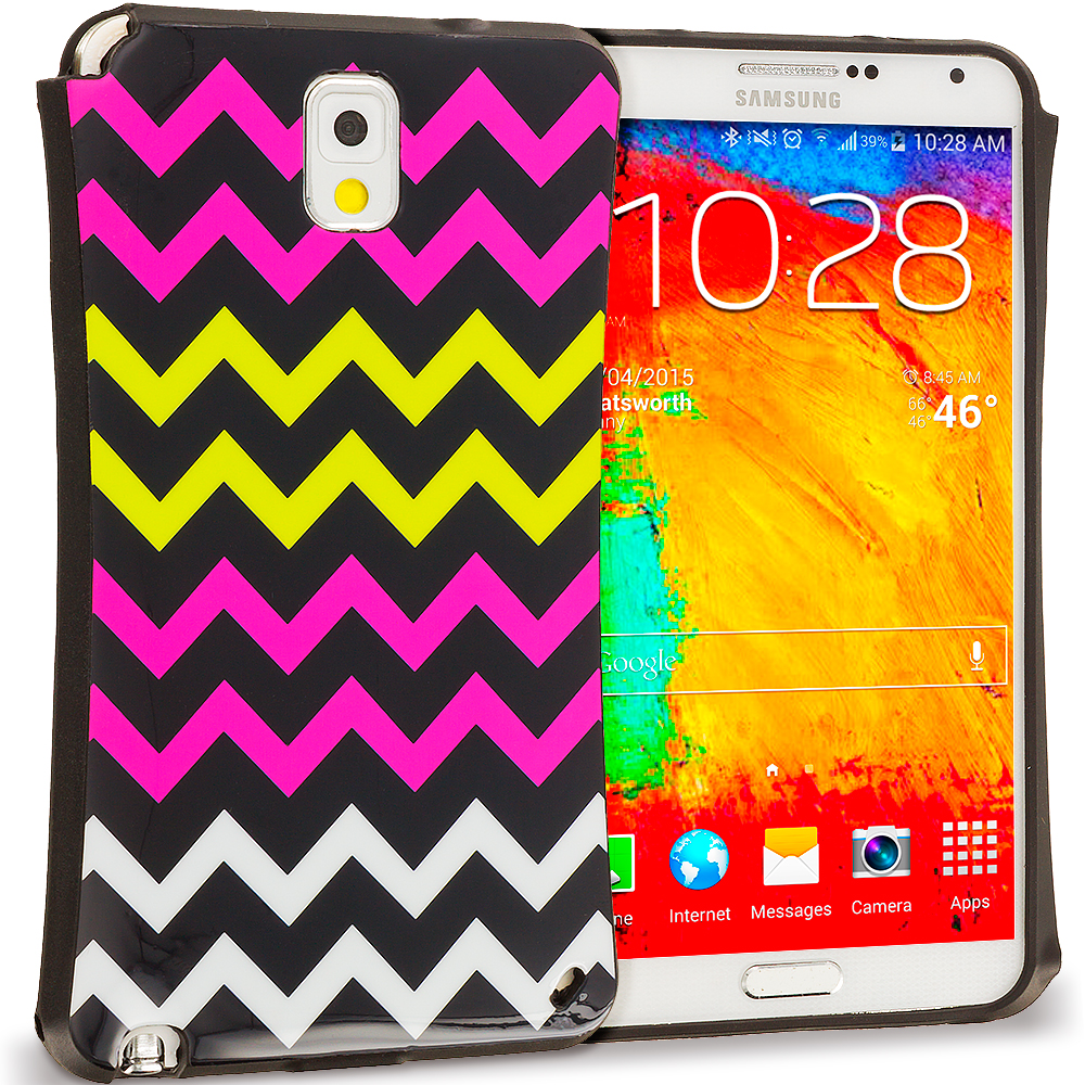Samsung Galaxy Note 3 N9000 Hot Pink Wave Hybrid TPU Hard Soft Shockproof Drop Proof Case Cover