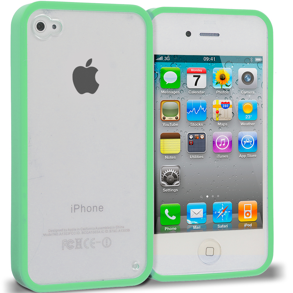 Apple iPhone 4 / 4S 2 in 1 Combo Bundle Pack - Hot Pink Green TPU Plastic Hybrid Case Cover : Color Mint Green