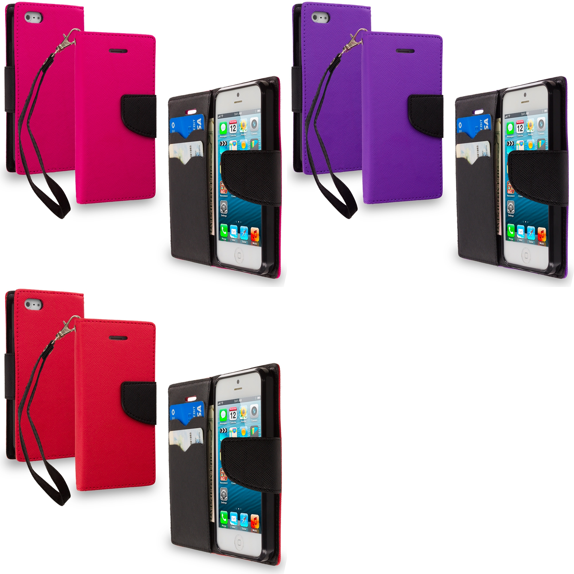Apple iPhone 5/5S/SE Combo Pack : Hot Pink / Black Leather Flip Wallet Pouch TPU Case Cover with ID Card Slots