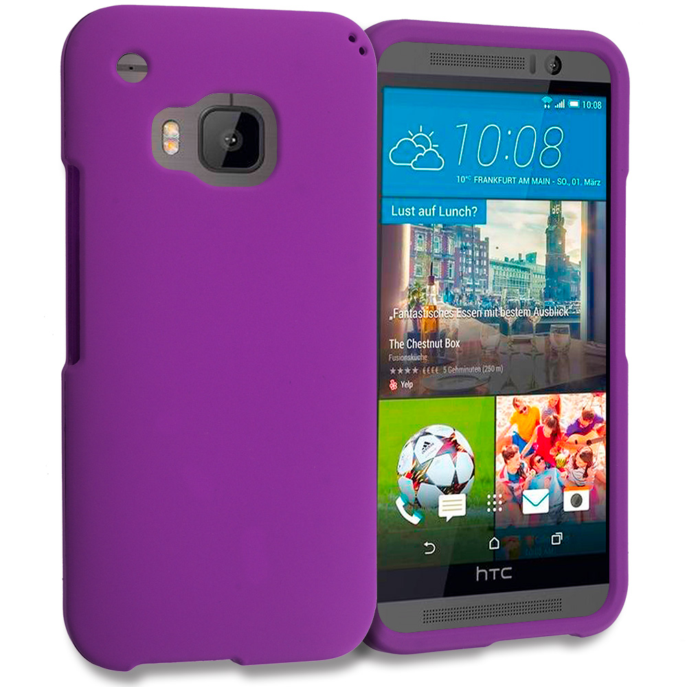 HTC One M9 Purple Hard Rubberized Case Cover