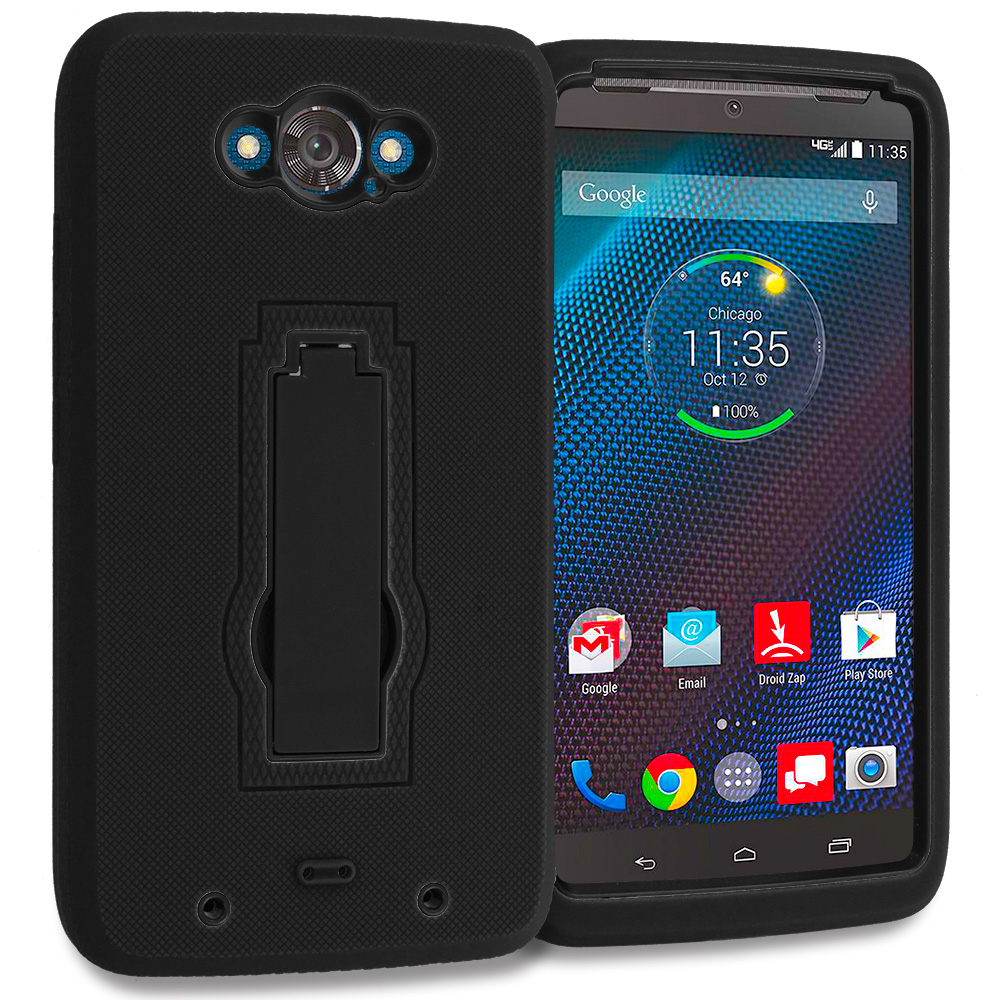 Motorola Droid Turbo Black / Black Hybrid Heavy Duty Hard Soft Case Cover with Kickstand