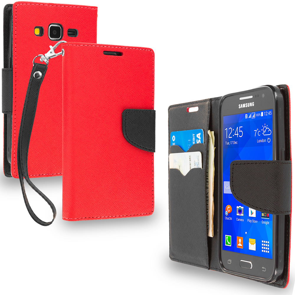 Samsung Galaxy Prevail LTE Core Prime G360P Red / Black Leather Flip Wallet Pouch TPU Case Cover with ID Card Slots