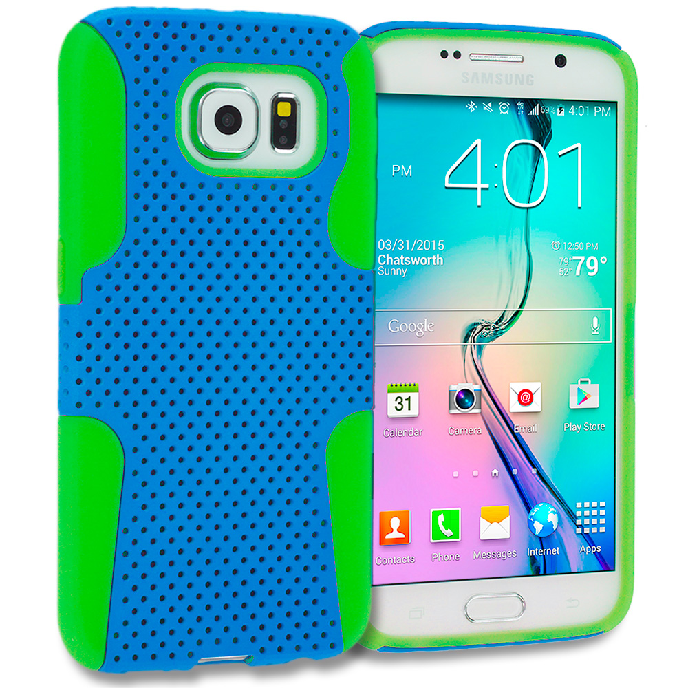 Samsung Galaxy S6 Combo Pack : Baby Blue / Hot Pink Hybrid Mesh Hard/Soft Case Cover : Color Neon Green / Baby Blue