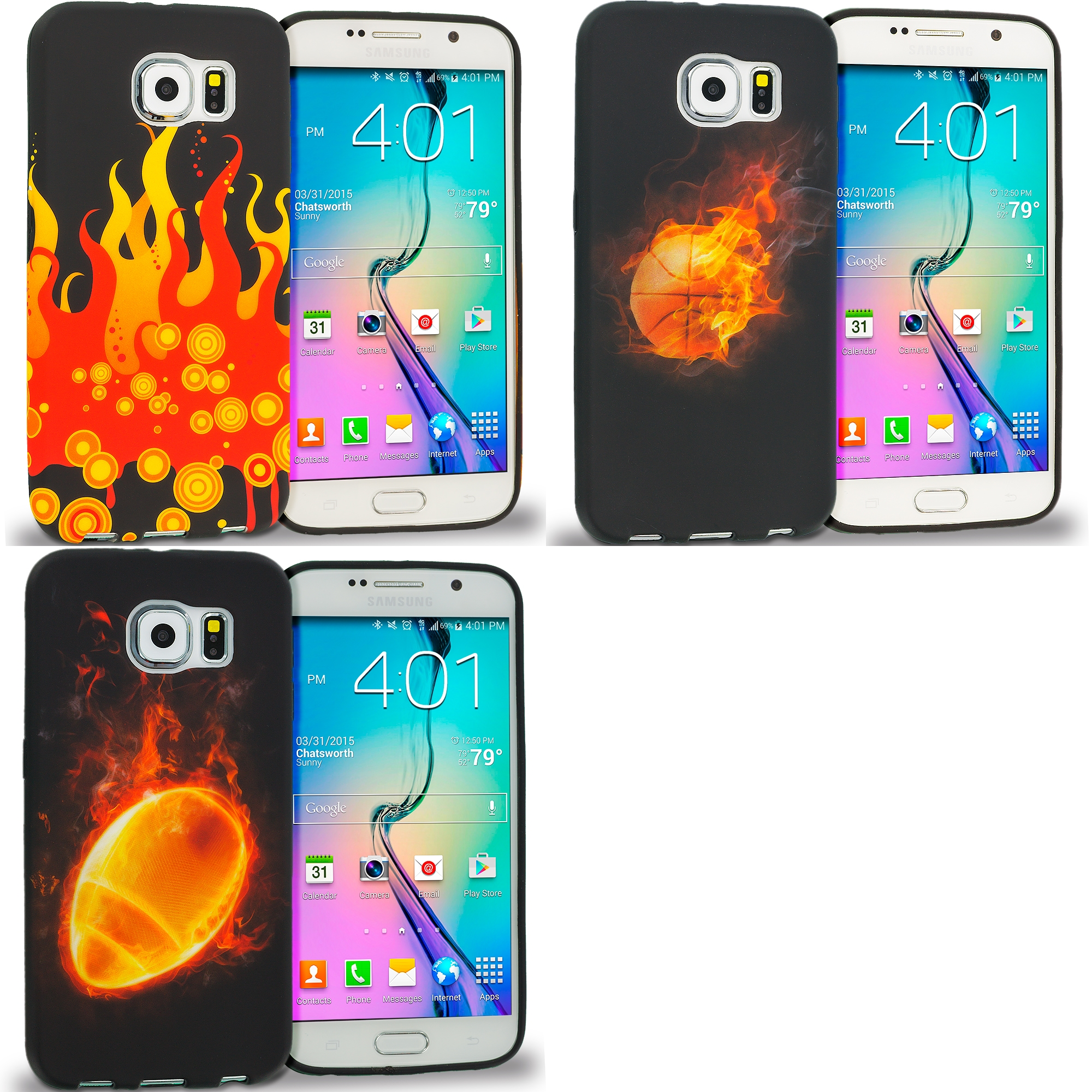 Samsung Galaxy S6 Combo Pack : Red Flame TPU Design Soft Rubber Case Cover