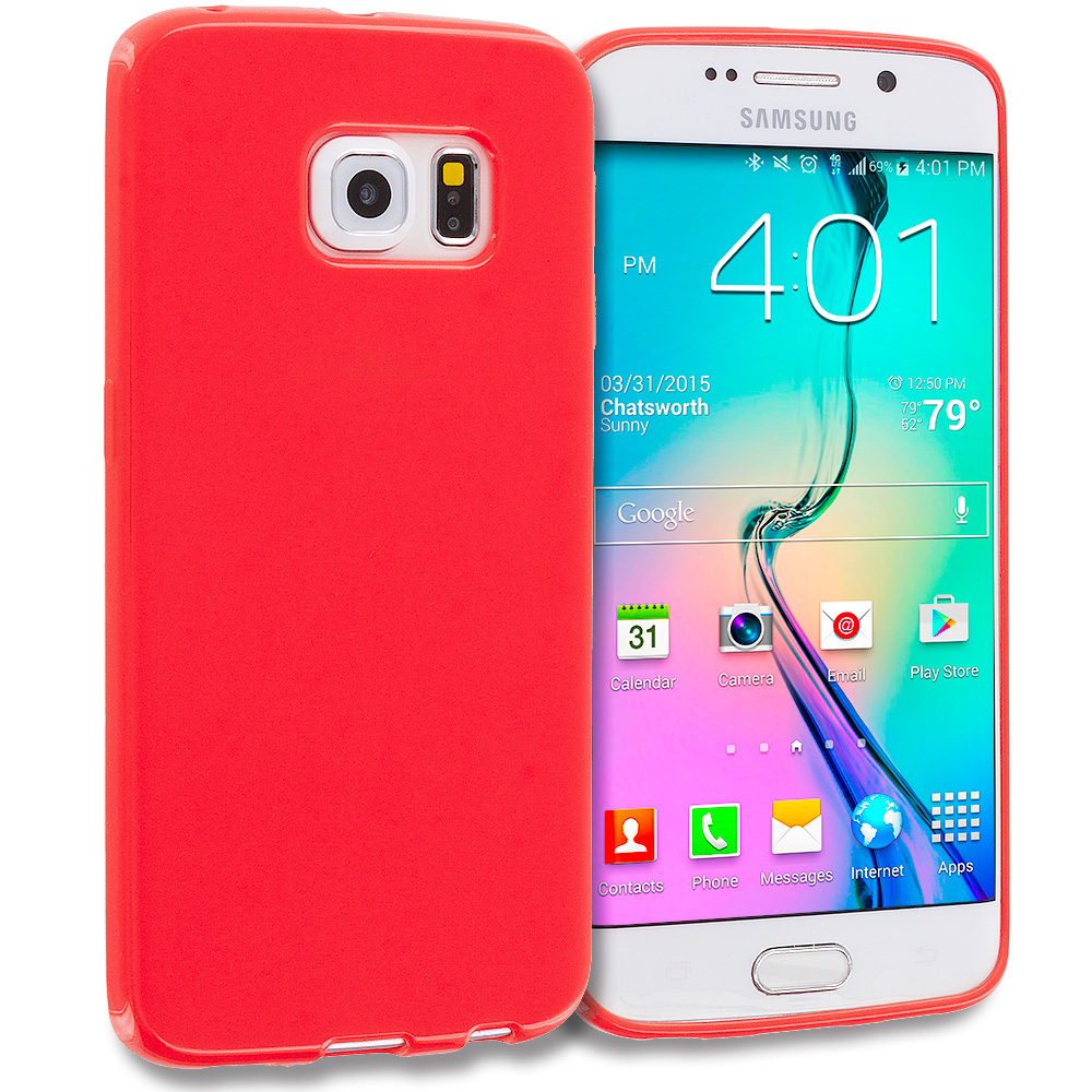 Samsung Galaxy S6 Edge Red Solid TPU Rubber Skin Case Cover