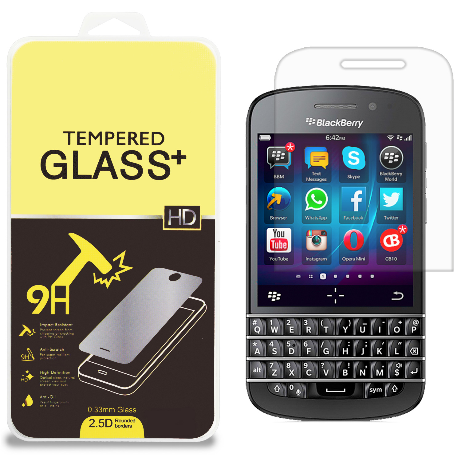 Blackberry Q20 Clear Tempered Glass High Quality 0.33mm LCD Screen Protector