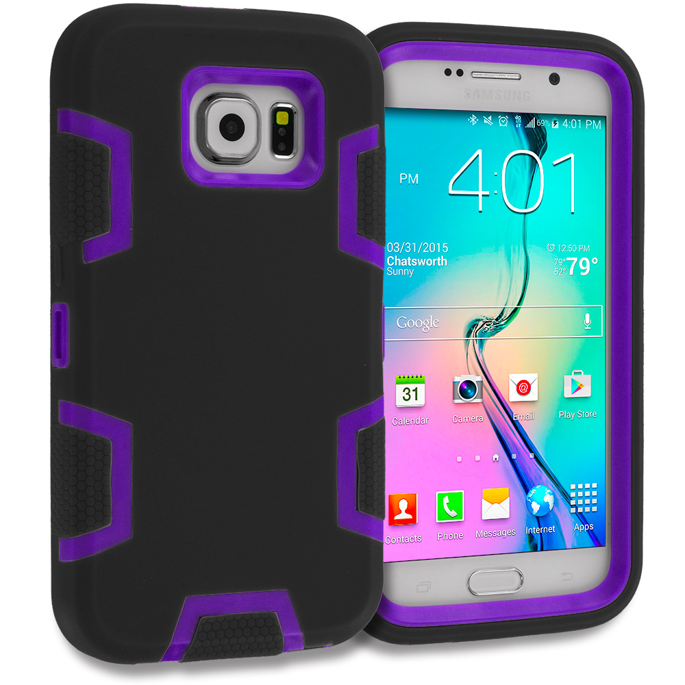 Samsung Galaxy S6 Combo Pack : Black / Purple Hybrid Defender Heavy Duty Shockproof Armor Hard Soft Case Cover : Color Black / Purple