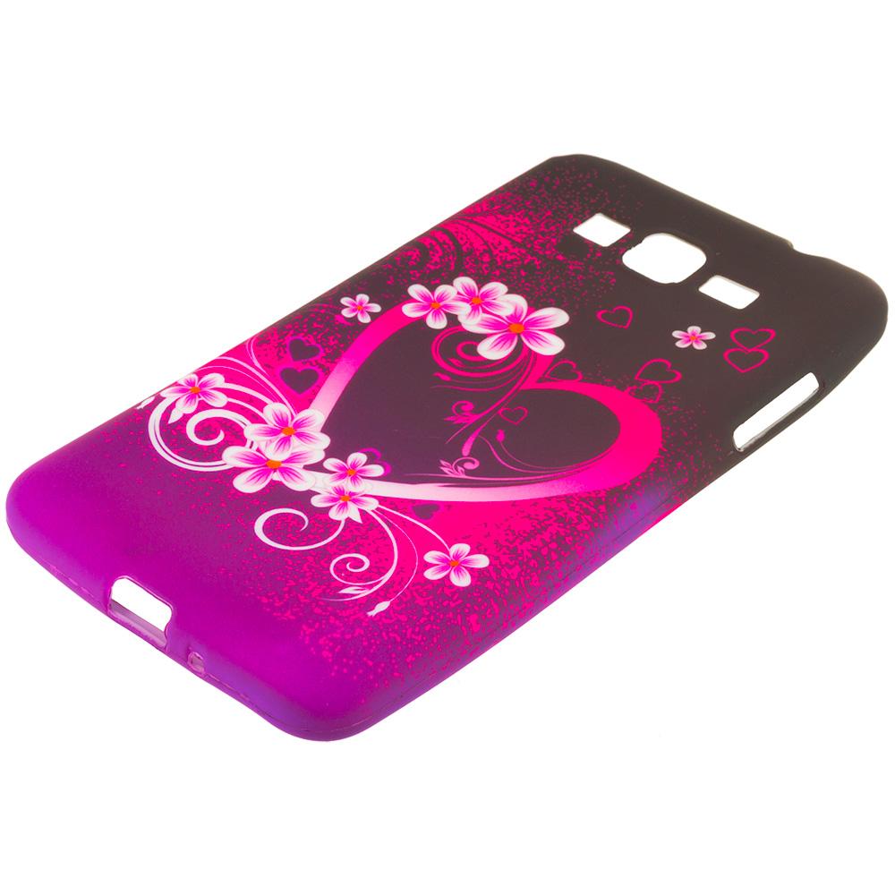 Samsung Galaxy Grand Prime LTE Purple Love TPU Design Soft Rubber Case Cover