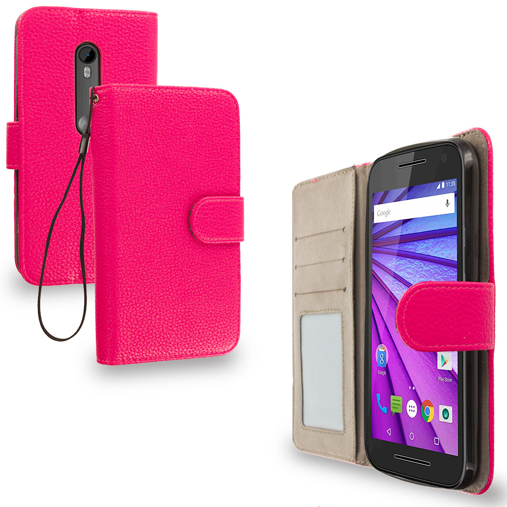 Motorola Moto G 3rd Gen 2015 Hot Pink Leather Wallet Pouch Case Cover with Slots