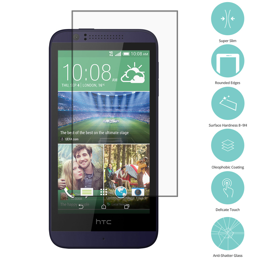 HTC Desire 510 512 Clear Tempered Glass Film Screen Protector Clear