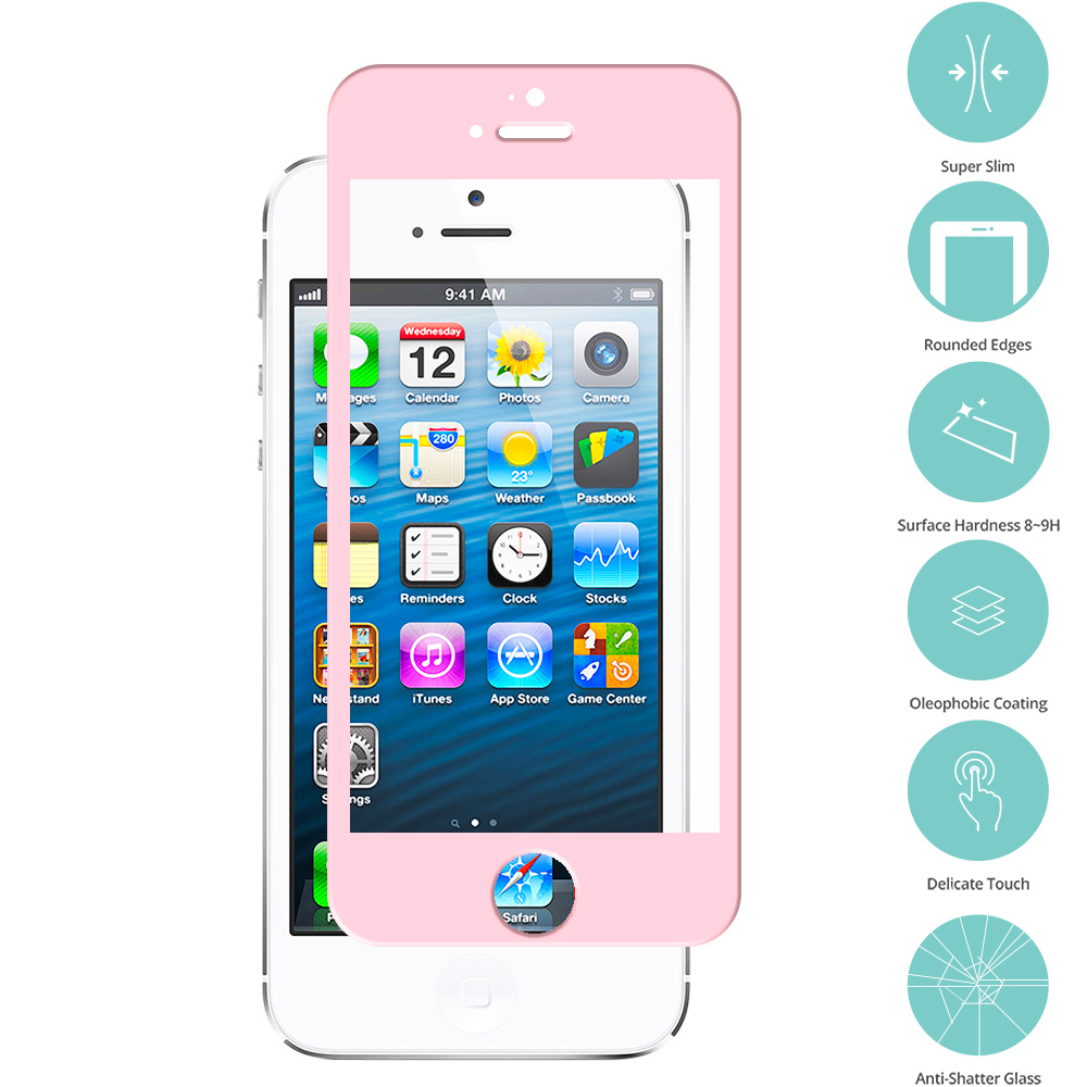 Apple iPhone 5 / 5S / 5C Light Pink Tempered Glass Film Screen Protector Colored