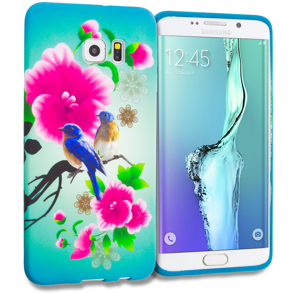Samsung Galaxy S6 Edge Plus + Blue Bird Pink Flower TPU Design Soft Rubber Case Cover
