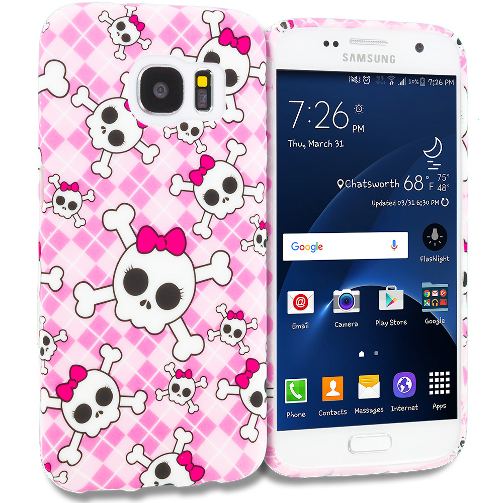 Samsung Galaxy S7 Combo Pack : Cute Skulls TPU Design Soft Rubber Case Cover : Color Cute Skulls