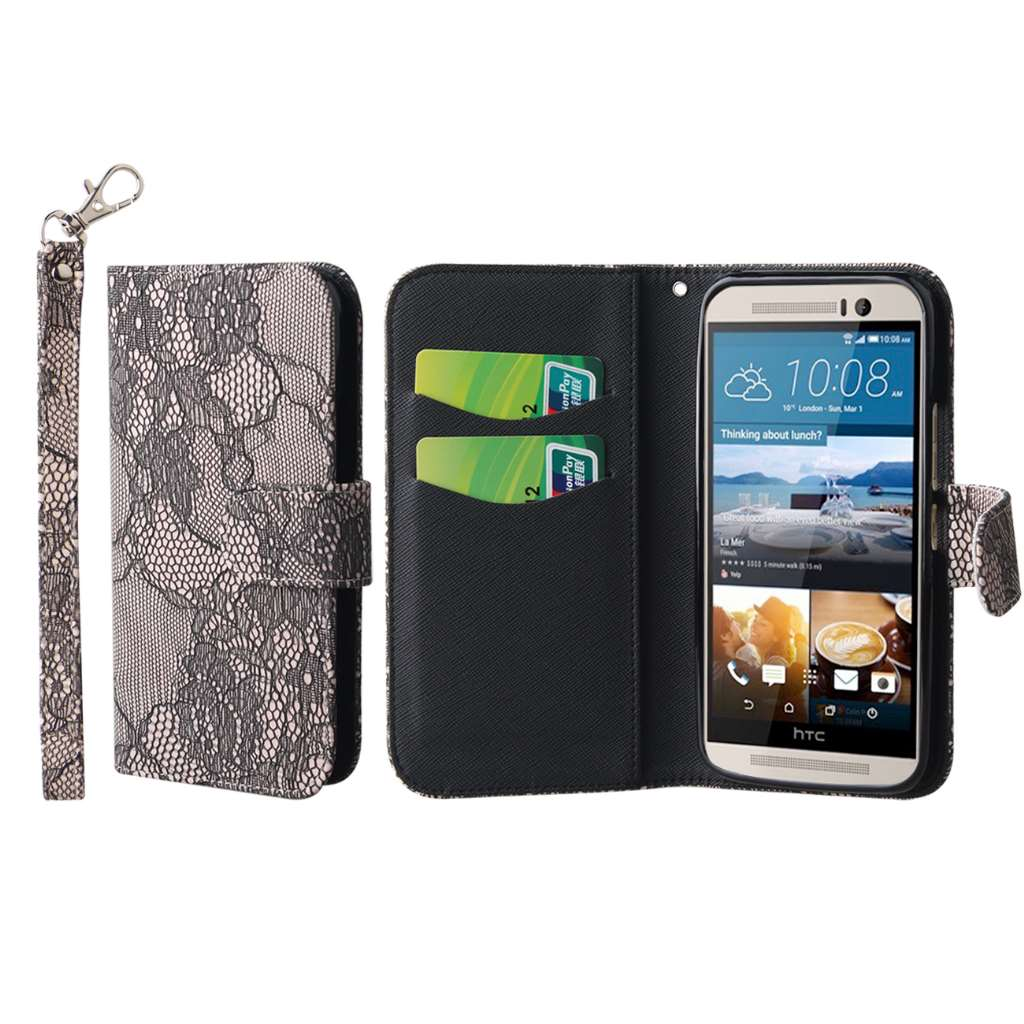 HTC One M9 - Black Lace MPERO FLEX FLIP Wallet Case Cover