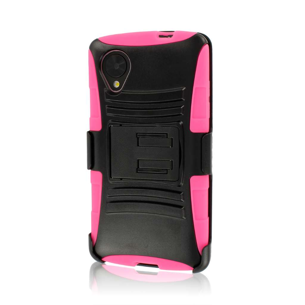 Google Nexus 5 - Hot Pink MPERO IMPACT XT - Stand Case Belt Clip Holster