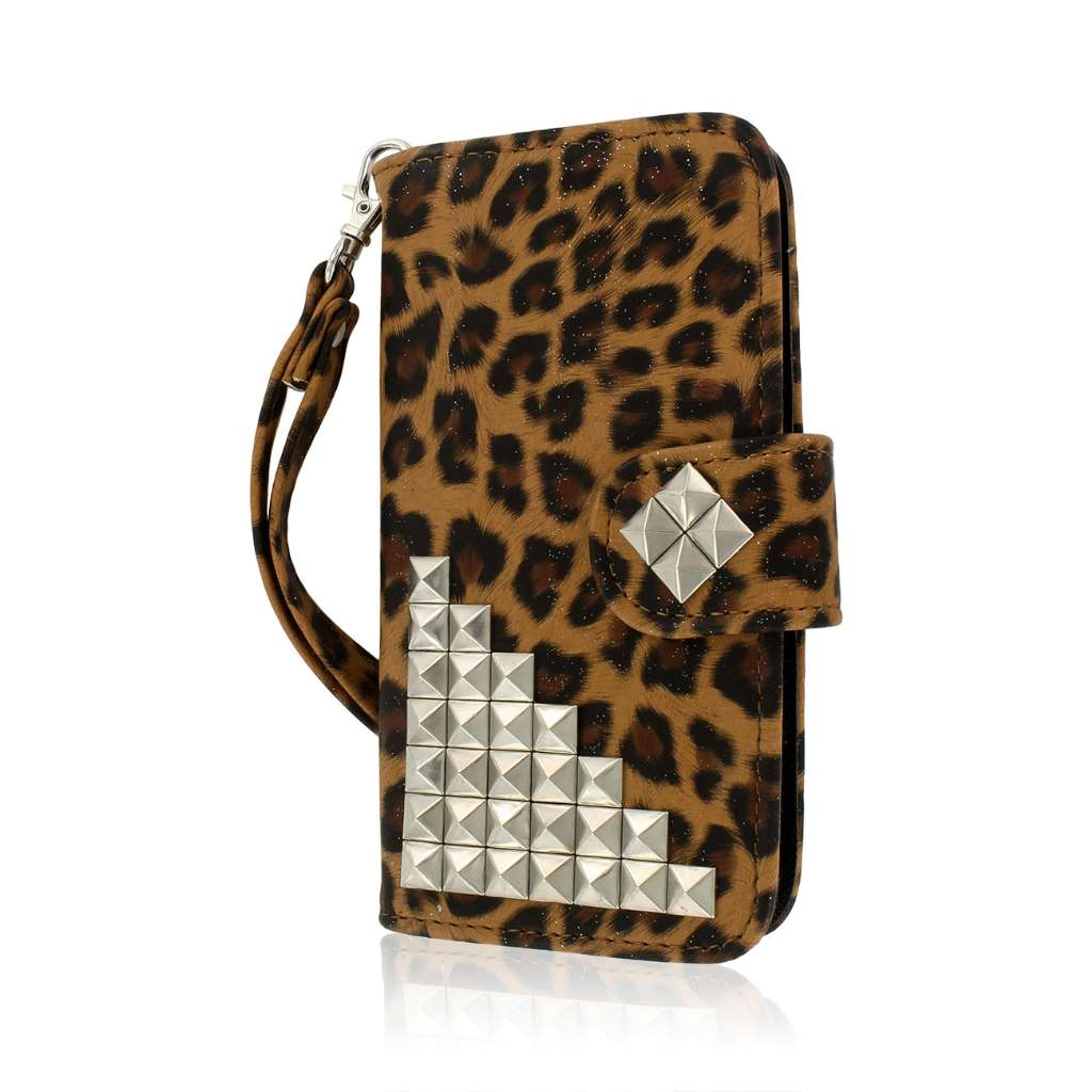 Samsung Galaxy S5 Mini - Studded Leopard MPERO FLEX FLIP Wallet Case Cover