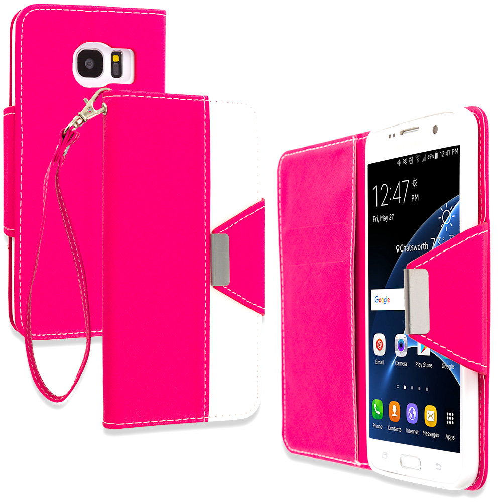 Samsung Galaxy S7 Edge Hot Pink Wallet Magnetic Metal Flap Case Cover With Card Slots