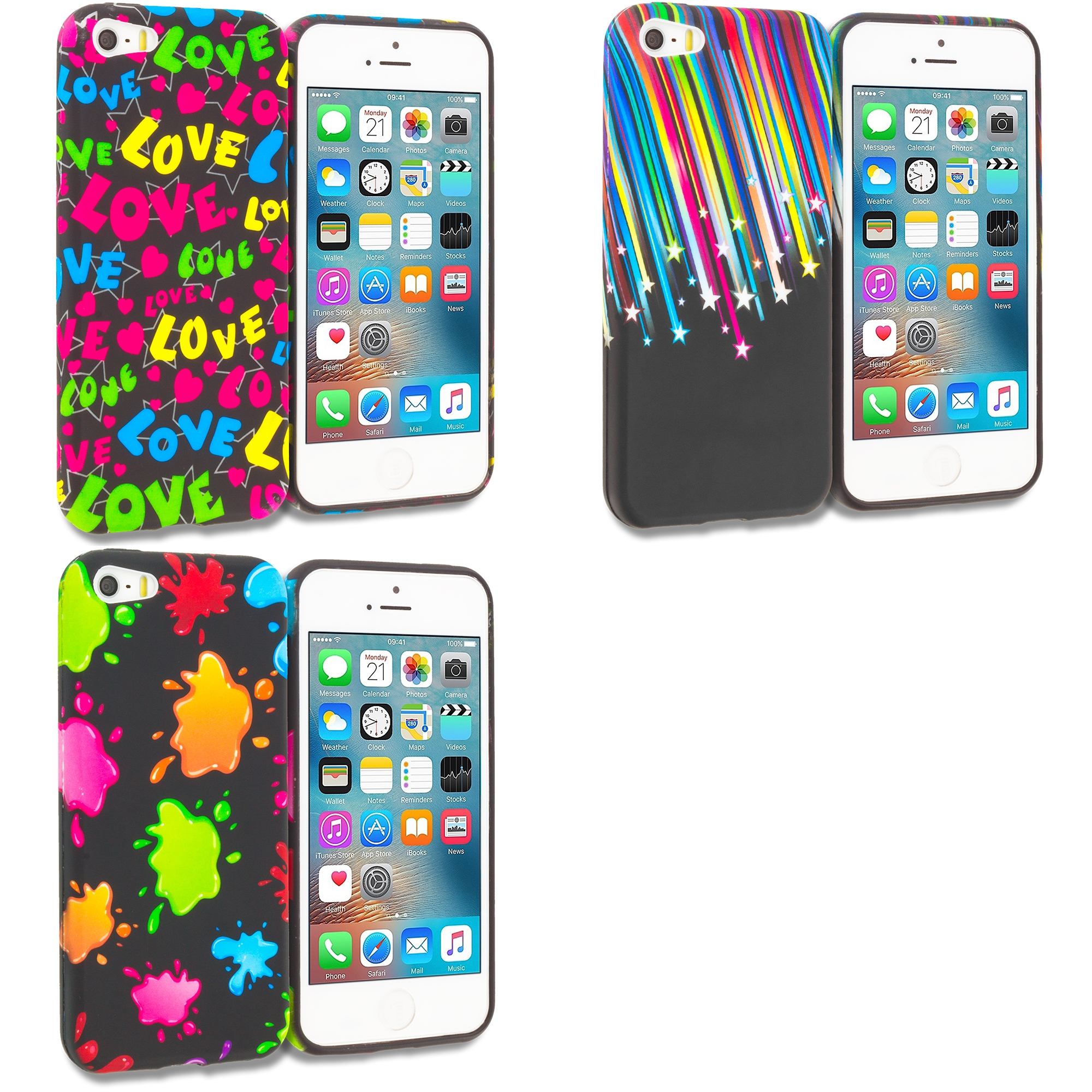 Apple iPhone 5/5S/SE Combo Pack : Colorful Love on Black TPU Design Soft Rubber Case Cover