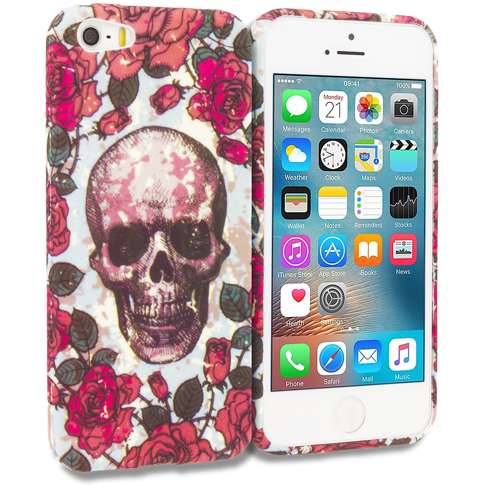 Apple iPhone 5/5S/SE Combo Pack : Cute Skulls TPU Design Soft Rubber Case Cover : Color Gorgeous Skull