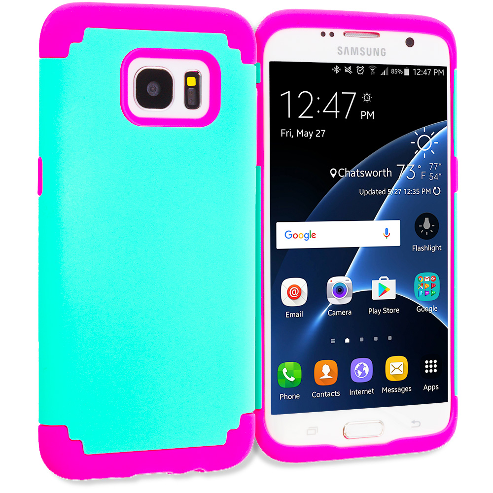 Samsung Galaxy S7 Edge Teal / Hot Pink Hybrid Slim Hard Soft Rubber Impact Protector Case Cover