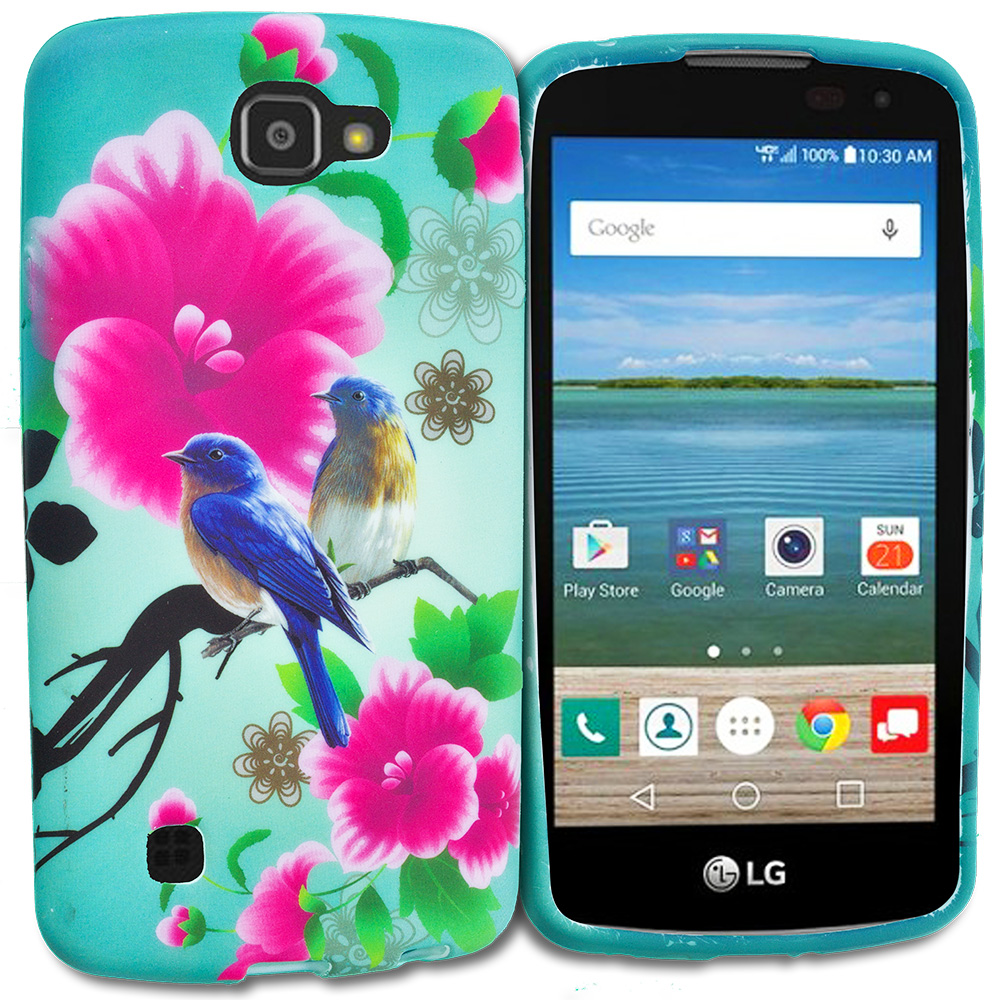 LG Spree Optimus Zone 3 VS425 K4 Blue Bird Pink Flower TPU Design Soft Rubber Case Cover