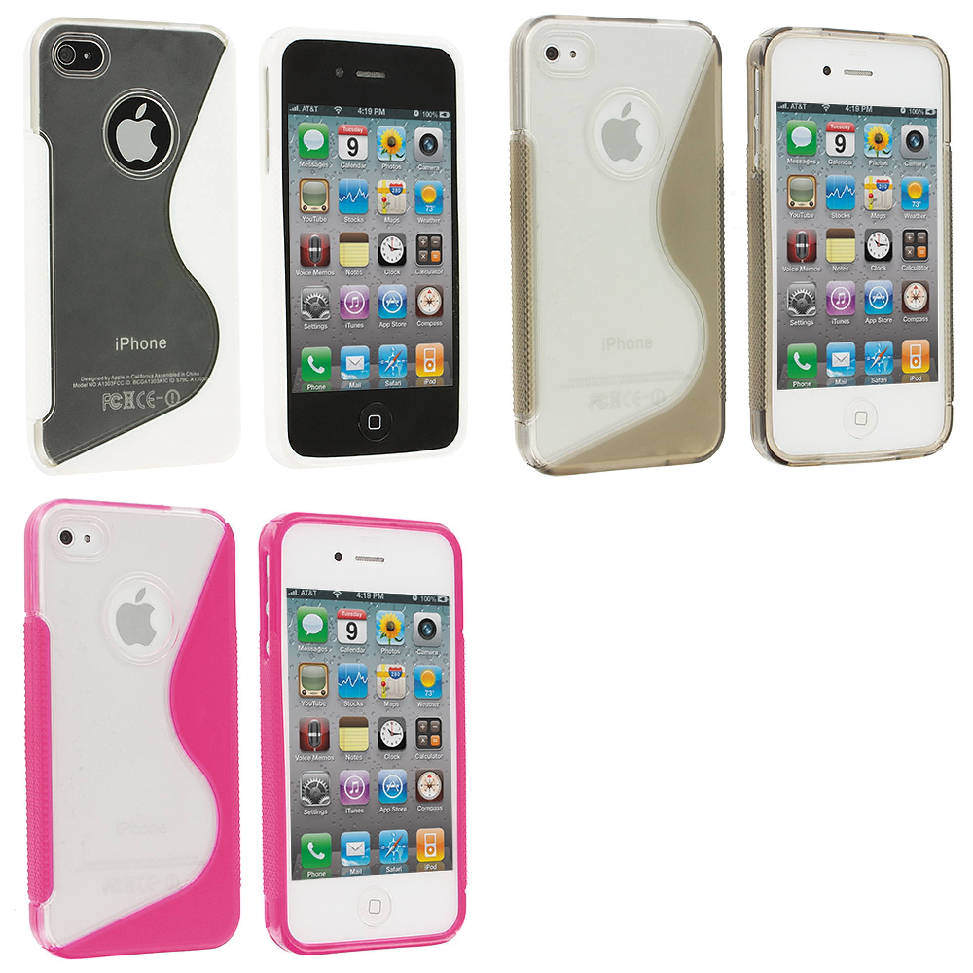 Apple iPhone 4 / 4S 3 in 1 Combo Bundle Pack - Clear / White S-Line TPU Rubber Skin Case Cover
