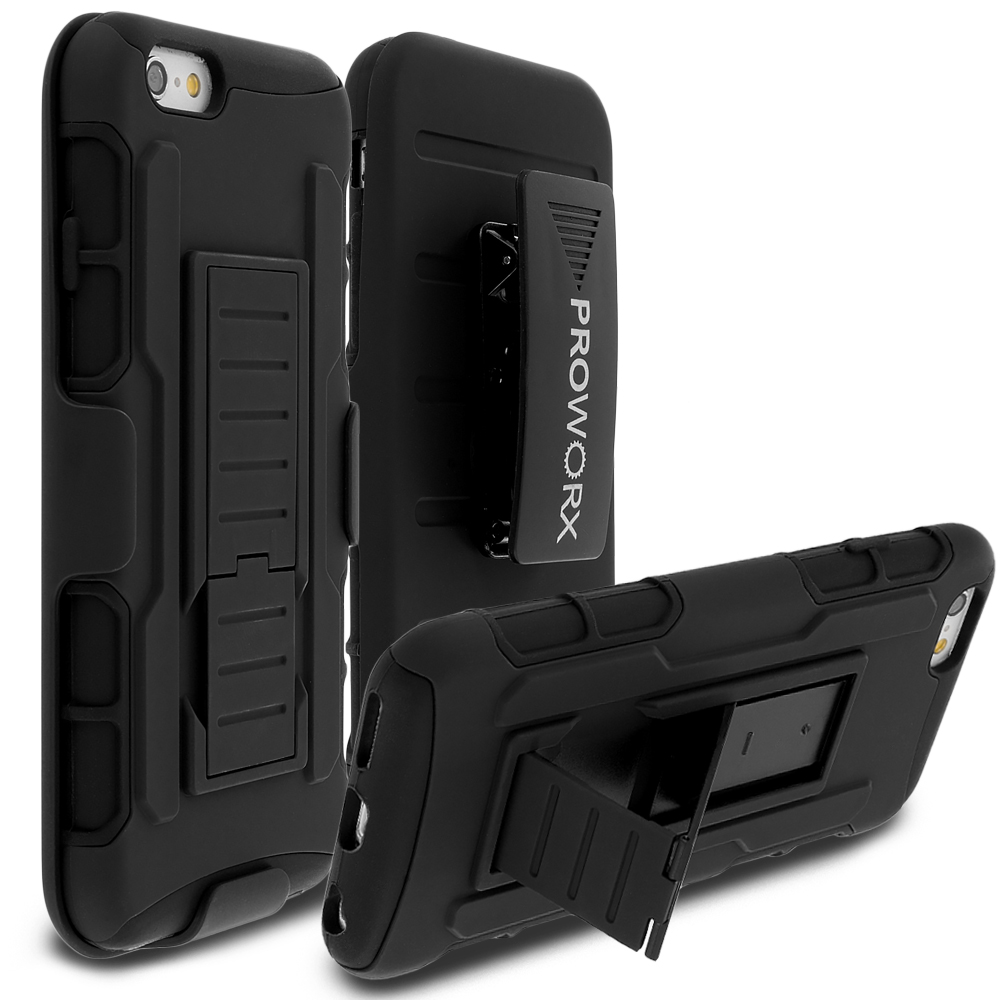 Apple iPhone 6 6S (4.7) Black ProWorx Heavy Duty Shock Absorption Armor Defender Holster Case Cover With Belt Clip