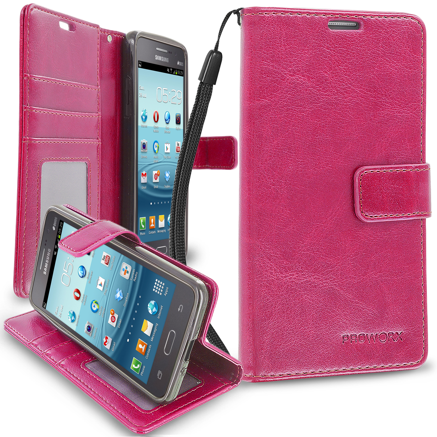Samsung Galaxy Grand Prime LTE G530 Hot Pink ProWorx Wallet Case Luxury PU Leather Case Cover With Card Slots & Stand
