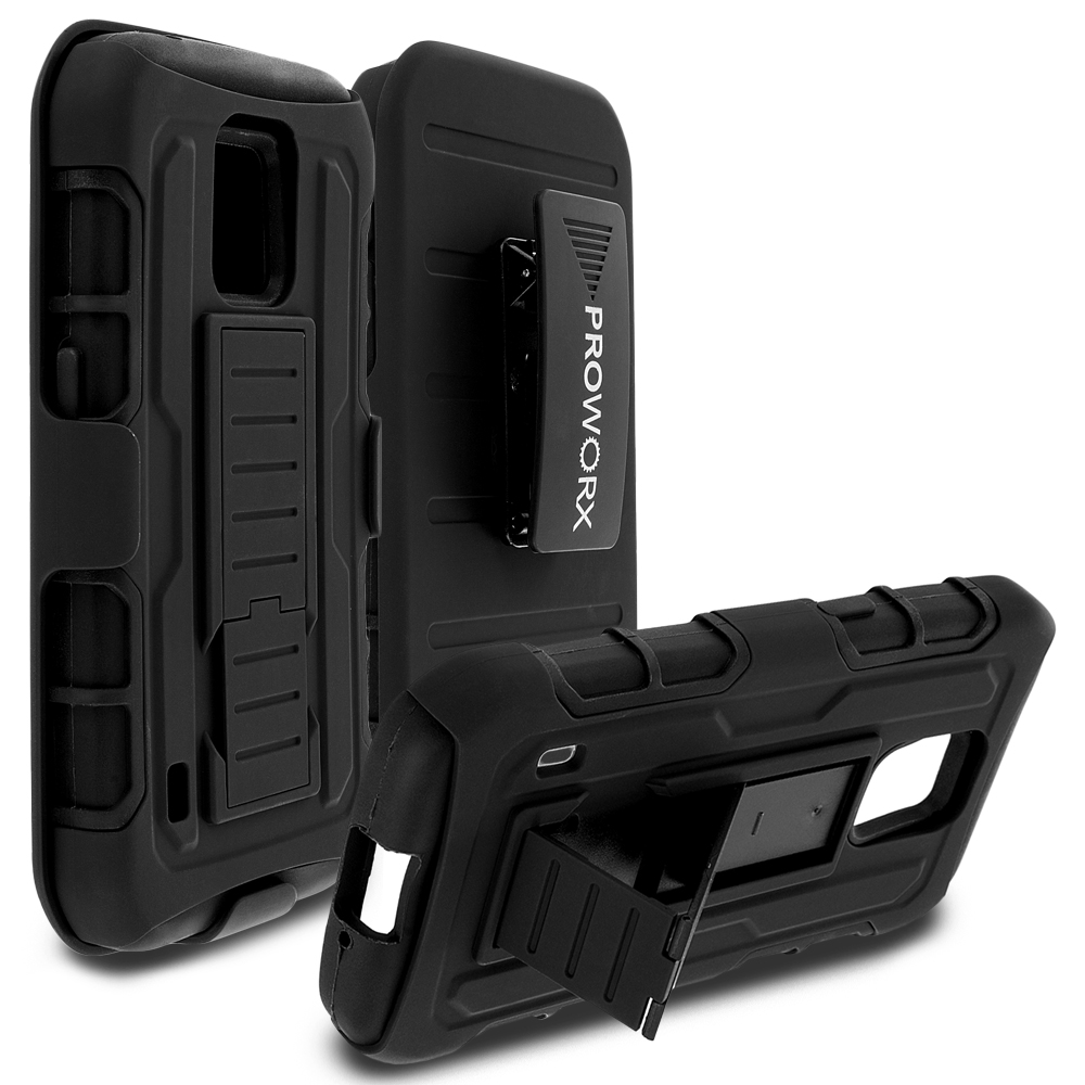 Samsung Galaxy S5 Active Black ProWorx Heavy Duty Shock Absorption Armor Defender Holster Case Cover With Belt Clip