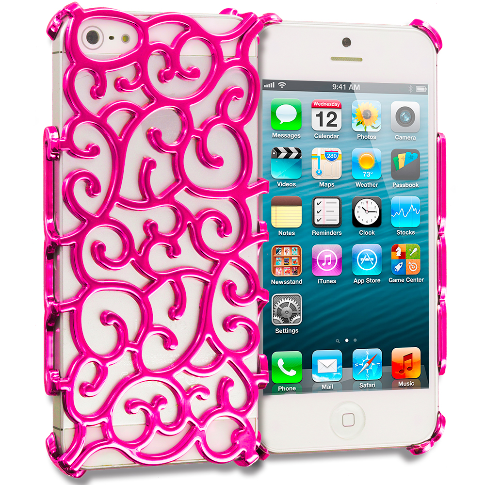 Apple iPhone 5/5S/SE Combo Pack : Hot Pink Floral Crystal Hard Back Cover Case : Color Hot Pink Floral