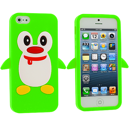 Apple iPhone 5/5S/SE Neon Green Penguin Silicone Design Soft Skin Case Cover