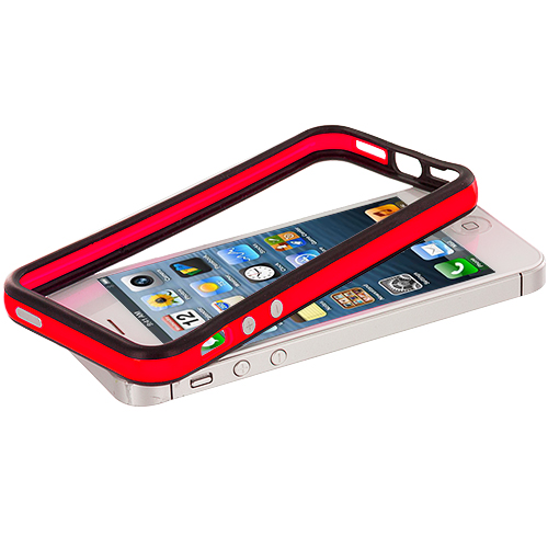 Apple iPhone 5/5S/SE Black / Red TPU Bumper with Metal Buttons
