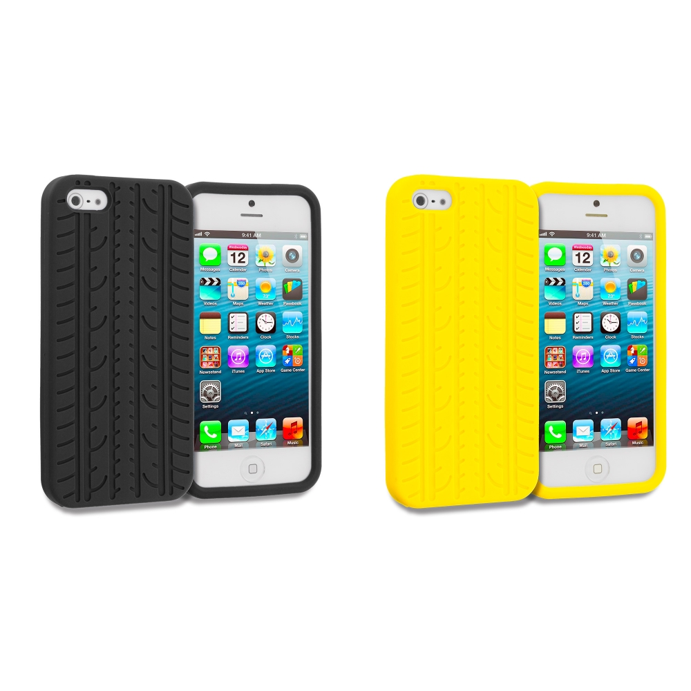 Apple iPhone 5/5S/SE Combo Pack : Black Tire Silicone Soft Skin Case Cover