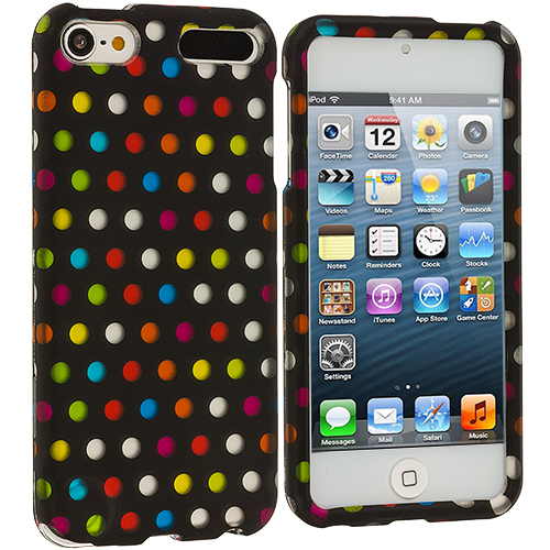 Apple iPod Touch 5th 6th Generation Colorful dots on Black Hard Rubberized Design Case Cover
