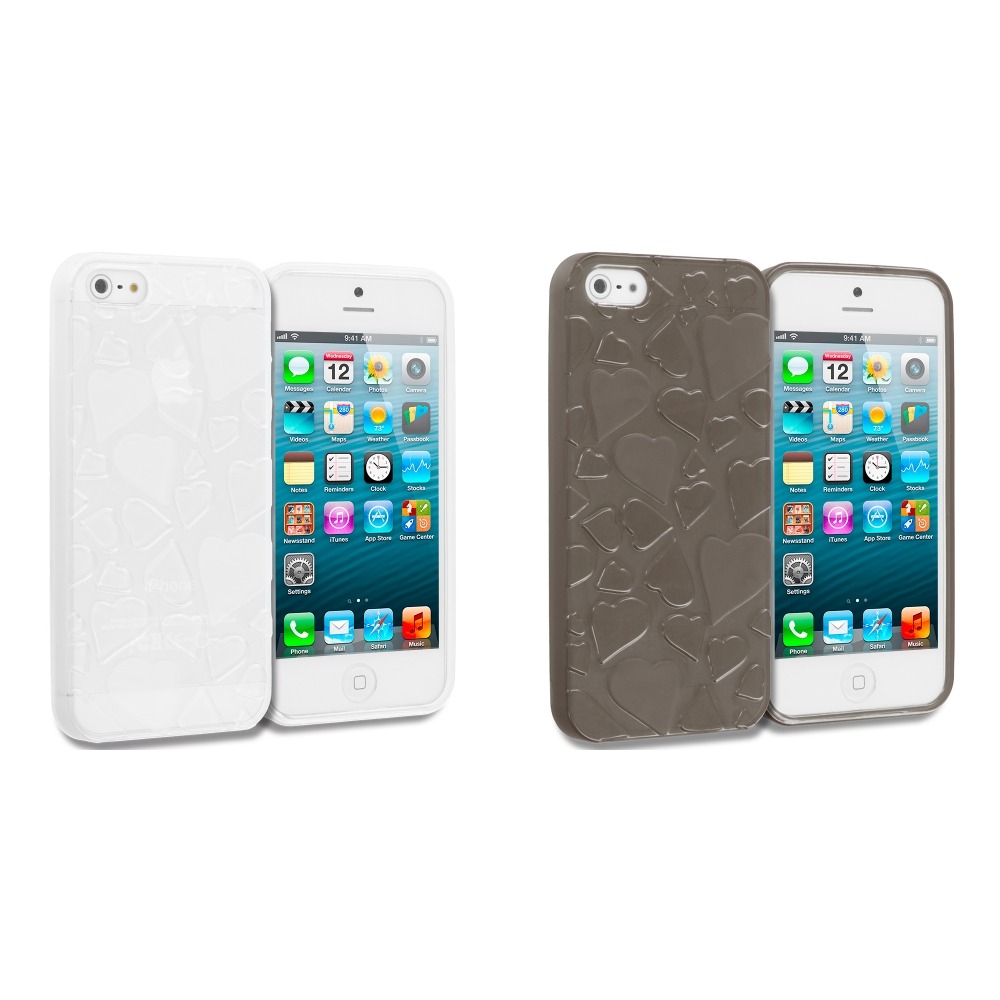 Apple iPhone 5/5S/SE Combo Pack : Clear Hearts TPU Rubber Skin Case Cover