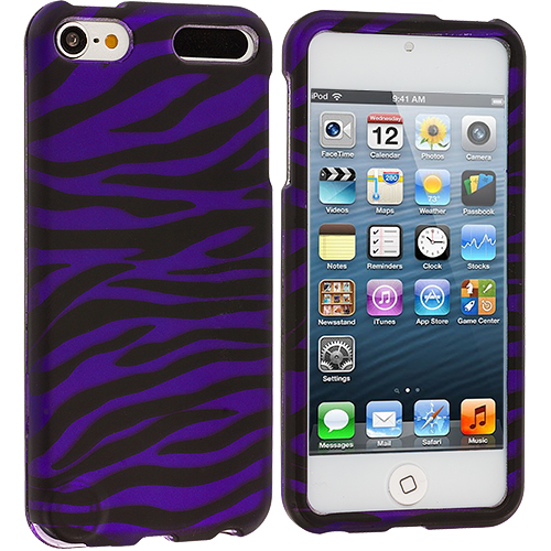 Apple iPod Touch 5th 6th Generation Black / Purple Zebra Hard Rubberized Design Case Cover