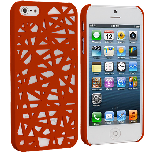 Apple iPhone 5/5S/SE Orange Birds Nest Hard Rubberized Back Cover Case