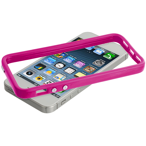 Apple iPhone 5/5S/SE Combo Pack : Solid Hot Pink TPU Bumper with Metal Buttons : Color Solid Hot Pink