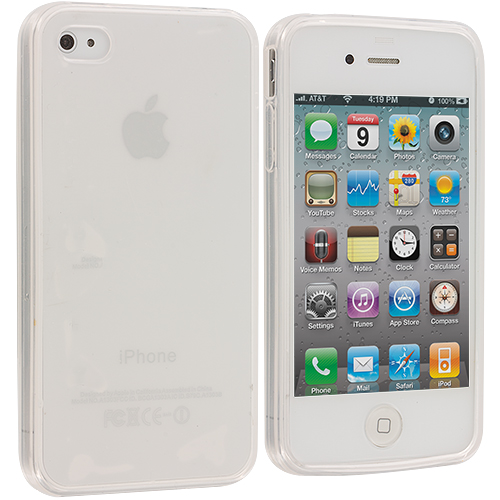 Apple iPhone 4 Frost Clear TPU Rubber Skin Case Cover