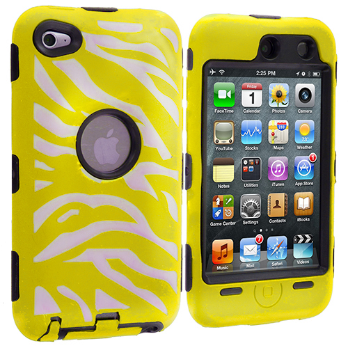 Apple iPod Touch 4th Generation Black / Yellow Zebra Hybrid Deluxe Hard/Soft Case Cover
