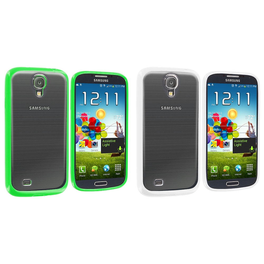 Samsung Galaxy S4 2 in 1 Combo Bundle Pack - White Green TPU Plastic Hybrid Case Cover
