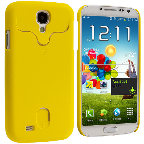 Samsung Galaxy S4 Yellow Hard Rubberized Credit Card ID Case Cover