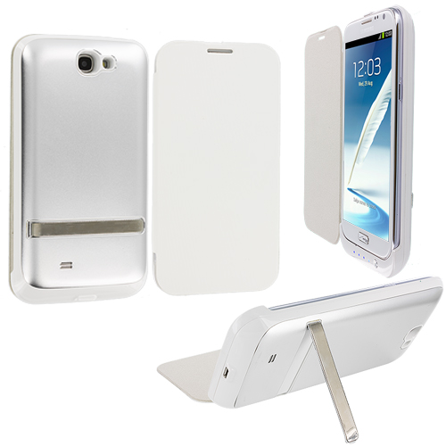 Samsung Galaxy Note 2 II N7100 White External Backup Battery Case Cover