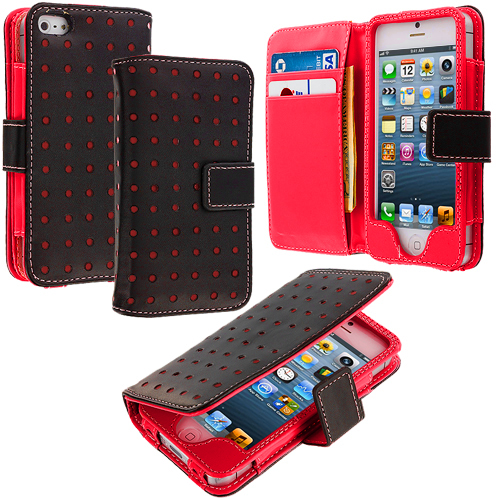 Apple iPhone 5/5S/SE Red Dots Leather Wallet Pouch Case Cover with Slots