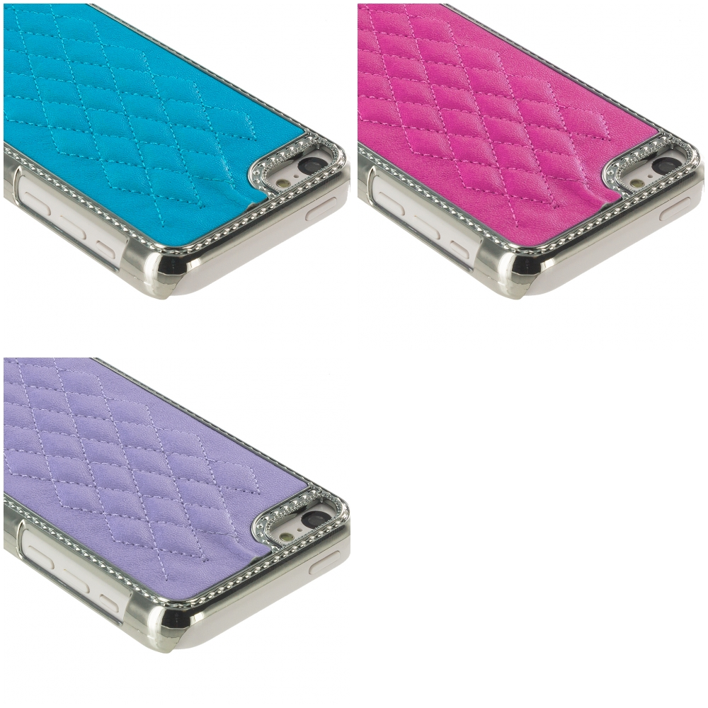 Apple iPhone 5C 3 in 1 Combo Bundle Pack - Blue Purple Pink Metal Quilted Hard/Soft Case Cover