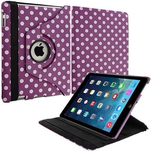 Apple iPad Air Purple White Polka Dot 360 Rotating Leather Pouch Case Cover Stand