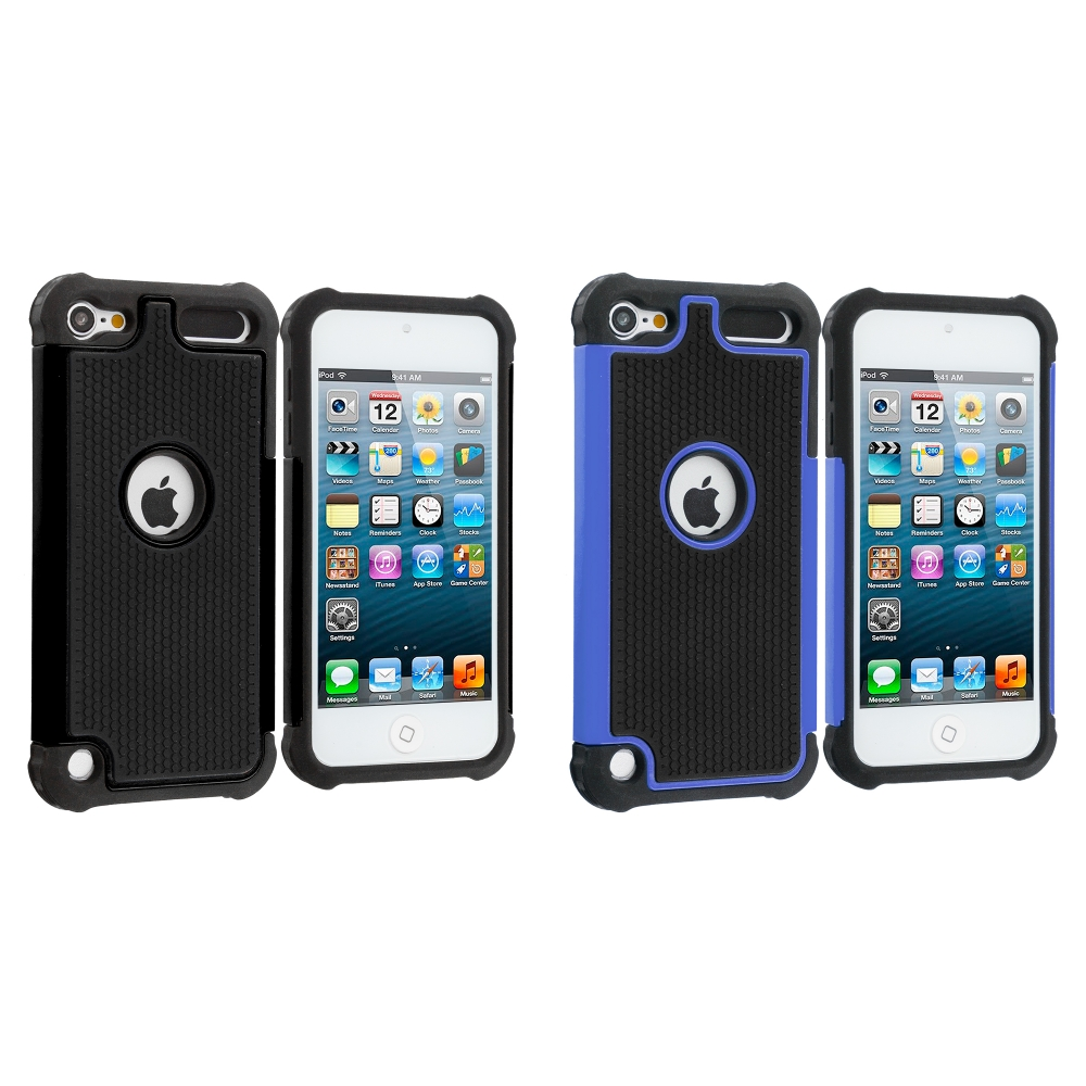 Apple iPod Touch 5th 6th Generation 2 in 1 Combo Bundle Pack - Black / Blue Hybrid Rugged Hard/Soft Case Cover