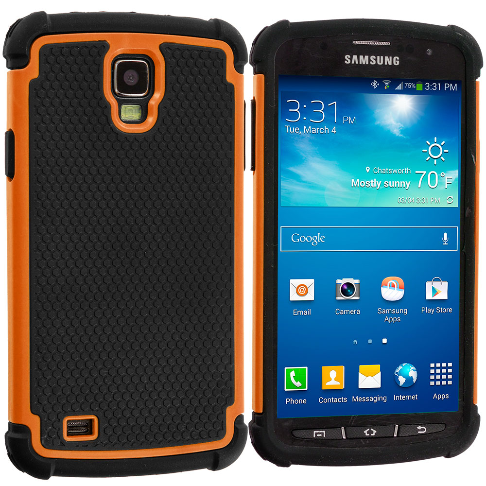 Samsung Galaxy S4 Active i537 Black / Orange Hybrid Rugged Hard/Soft Case Cover